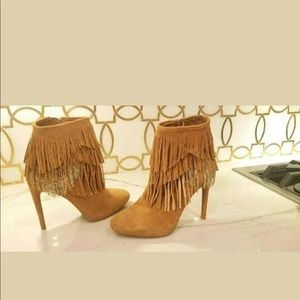 GIANNI BINI Suede Zip Fringe Ankle Booties Size 6M